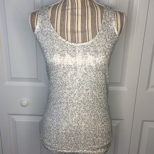 J. Crew silver scoop neck sequined tank top